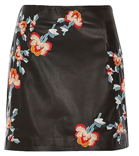 river island floral leather mini skirt