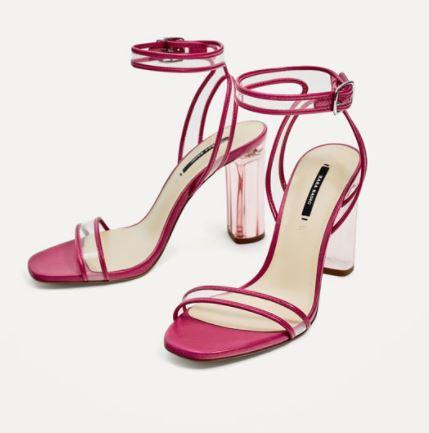 zara pink plastic sandals