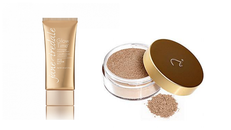 jane iredale best foundation for acne skin loose powder ad BB Glow time