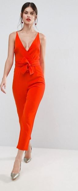 asos red structured jumpsuit