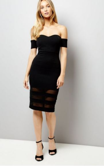 new look black wedding guest dress