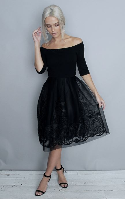 folkster black wedding guest dress