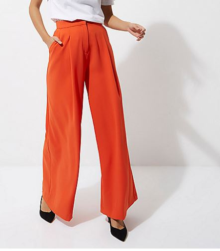 river island red wide leg it pants