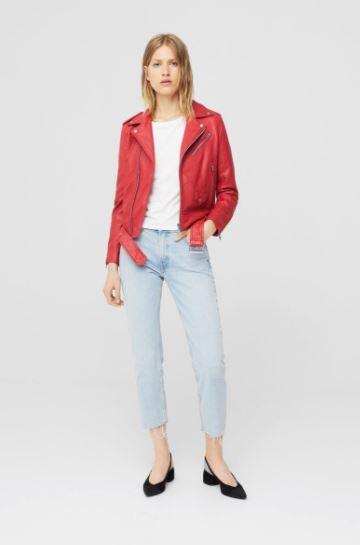 pink leather jacket mango