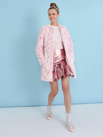 dunnes pink faux fur