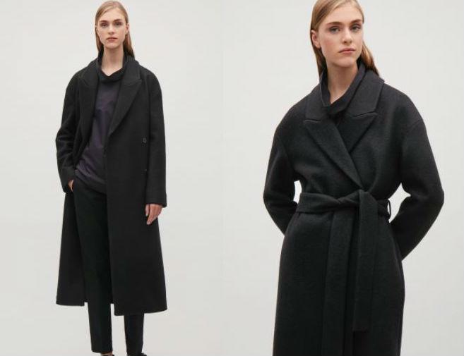 cos black coat meghan markle style