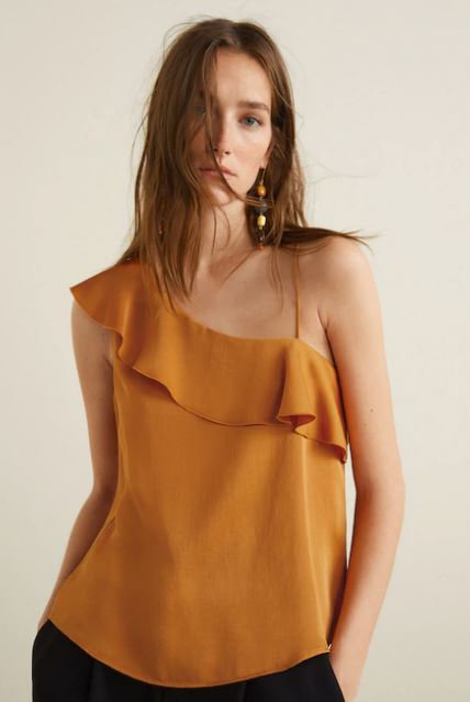 mango frilled satin shirt