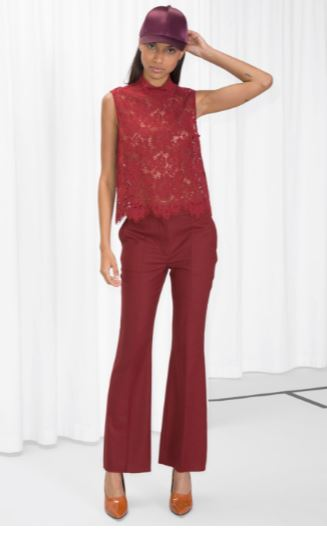 & other stories red Crease Wool Trousers