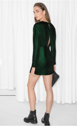 model wearing green & other stories Slit Back Dress
