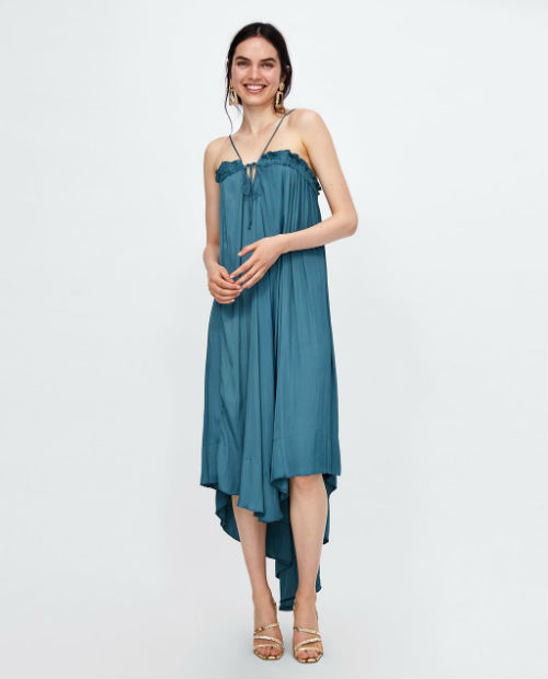 zara strappy asymettric dress