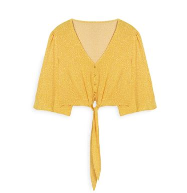 Yellow Polka Dot Tie Front Blouse