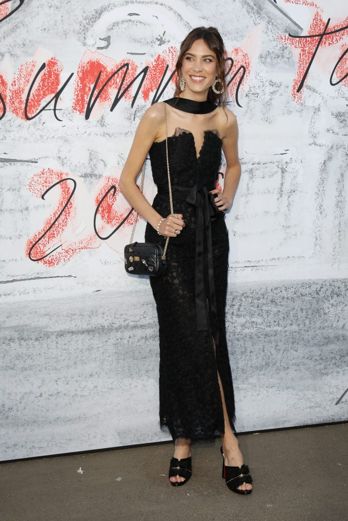 Alexa Chung at the Serpentine Summer Party wearing black Chanel dress