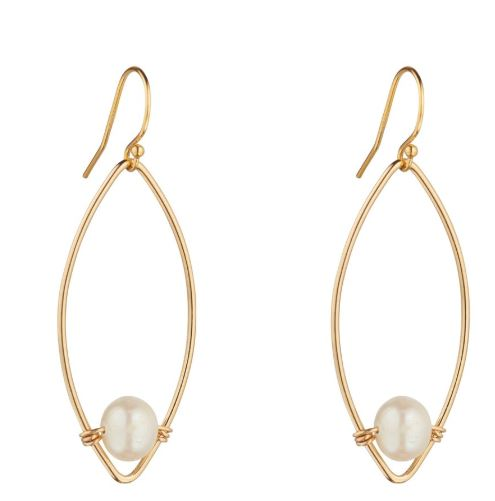MoMuse Gold Filled Oval Earrings with Fresh Water Pearls