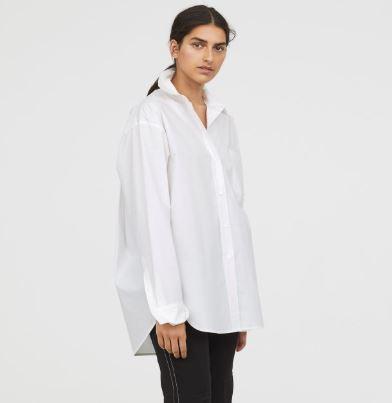 model wearing oversized white shirt