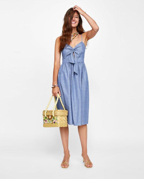 model wearing knot dress