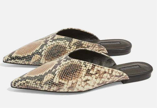 topshop pointed snakeskin mules