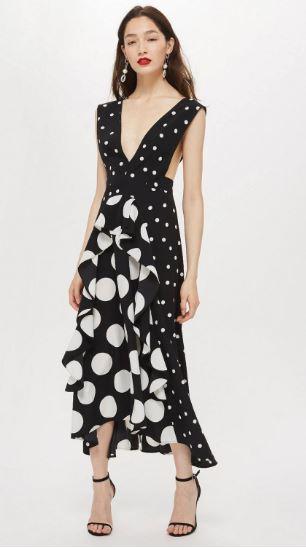 topshop pinafore polka dress