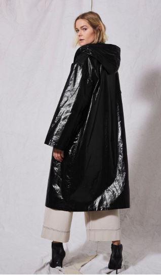 topshop vinyl black raincoat