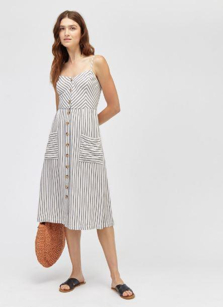 warehouse striped linen dress