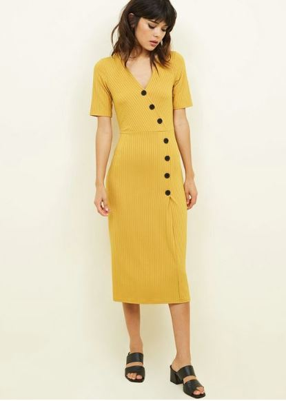 new look mustard dress