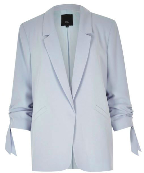 Light blue ruched sleeve blazer €80