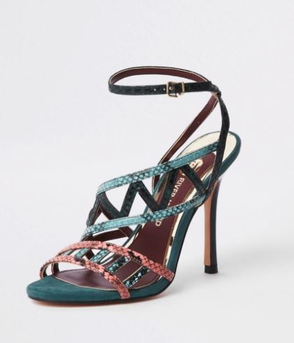 Green snake embossed strappy sandals €60.00