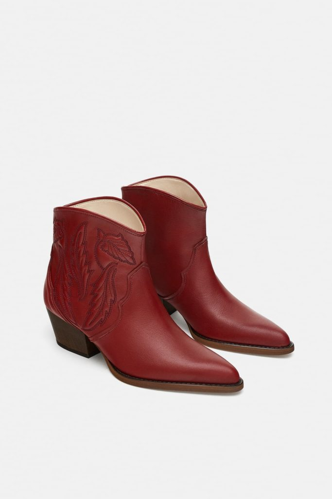 zara red coyboy boots