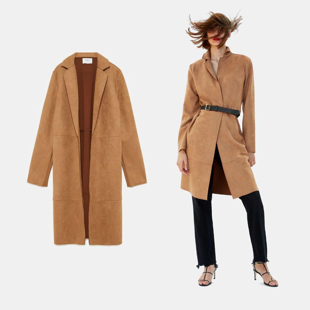 zara faux suede camel coat