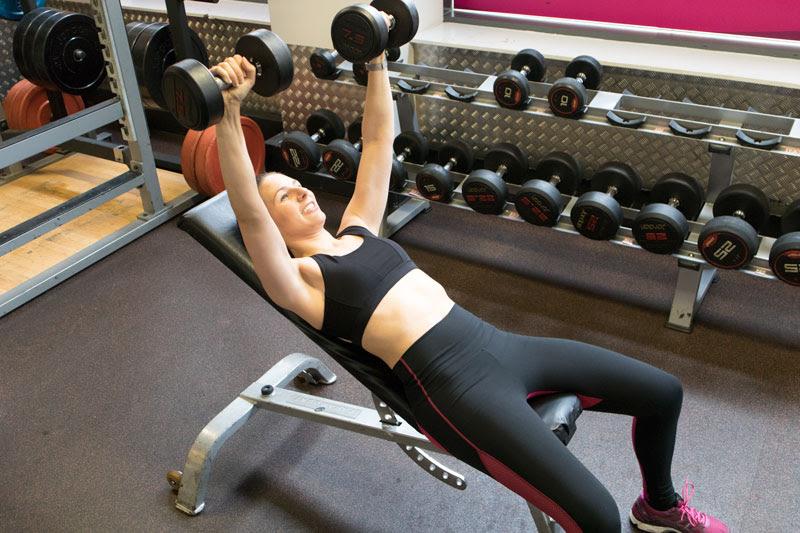 eva burg lifting small weights lying down