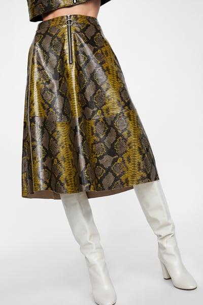 zara snakeskin skirt with white autumn boots