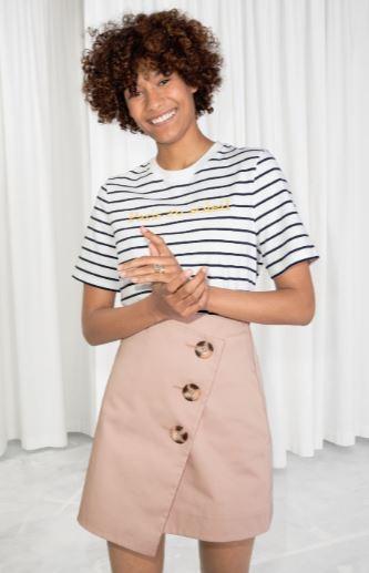 asymmetric button down skirt