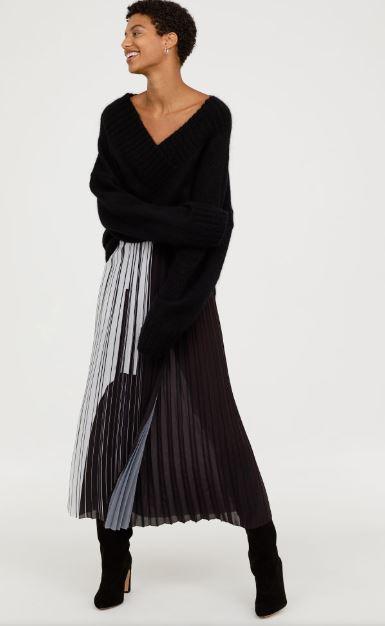 hm pleated wrapover skirt