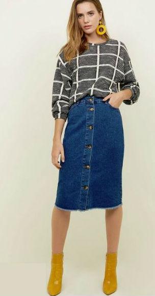 new look denim midi skirt