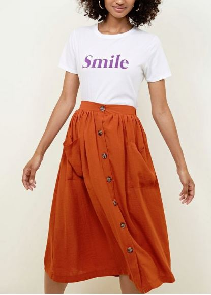 new look button down midi skirt