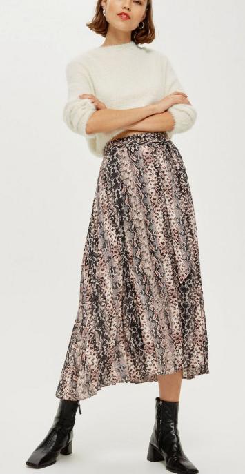 topshop snake print skirt