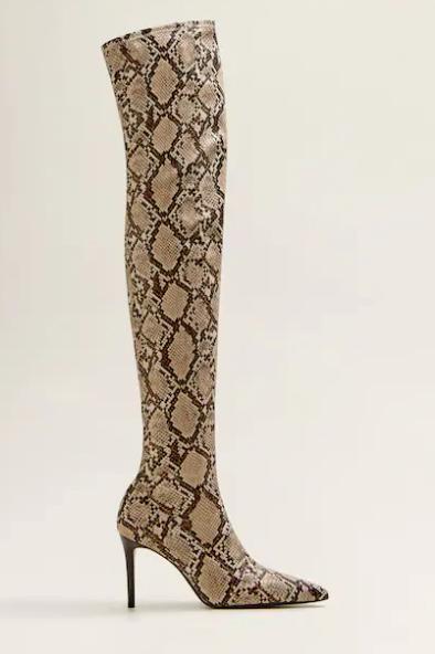 mango snake print boots