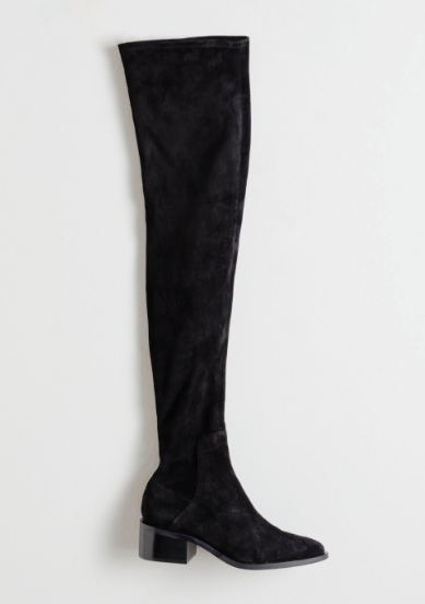 thigh high suede boots with little heel