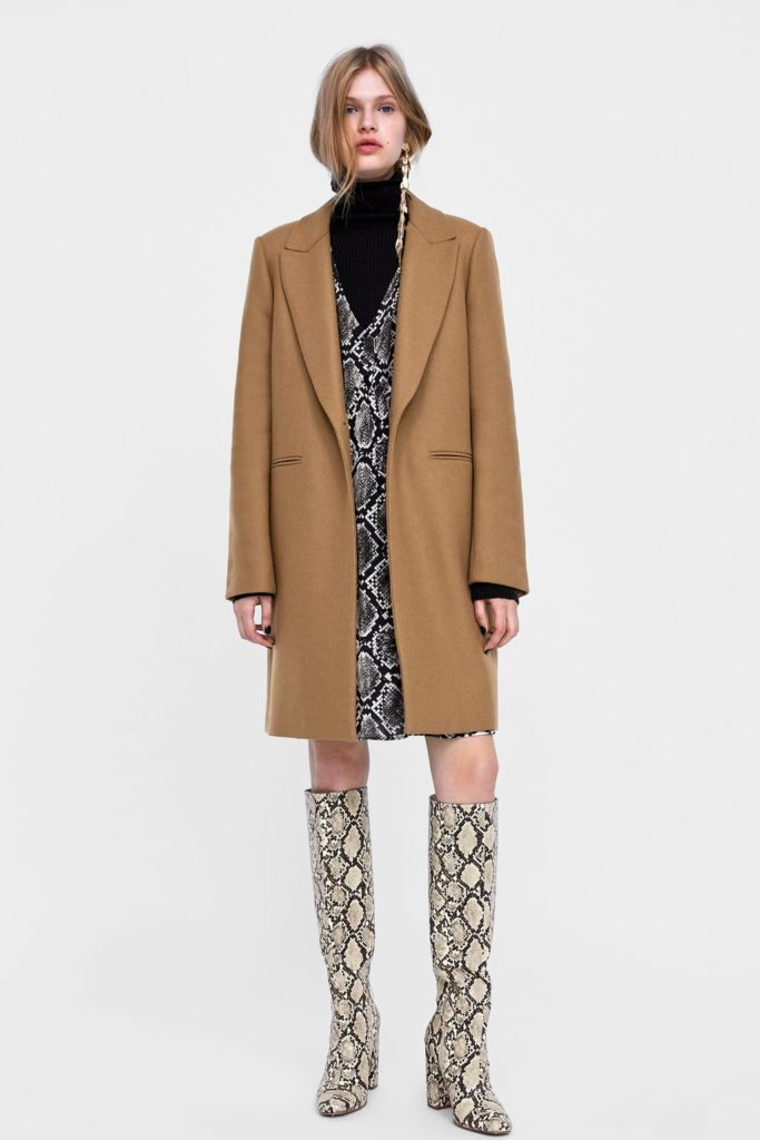 zara high street camel coat