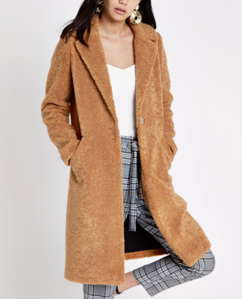 river island high street camel coats