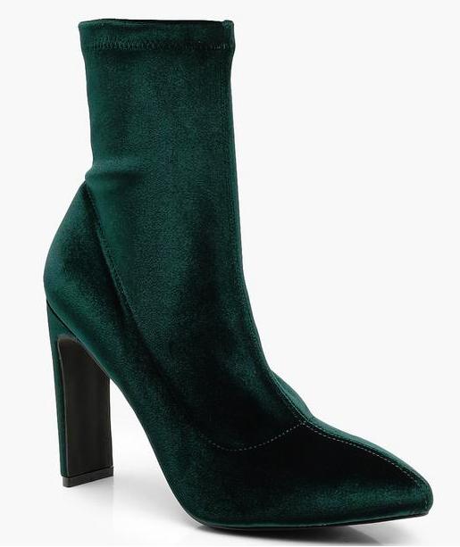 boohoo velvet green sock boots