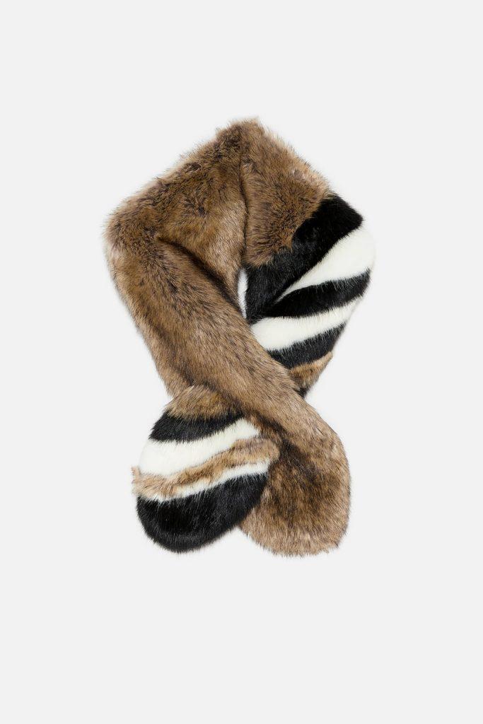 faux fur scarf zara