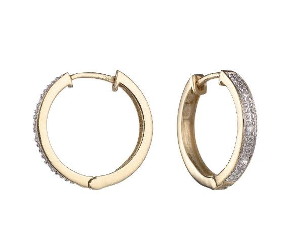 7316ed38f Love Diamond 9 Carat Yellow Gold Diamond Set Huggie Hoop Earrings €179