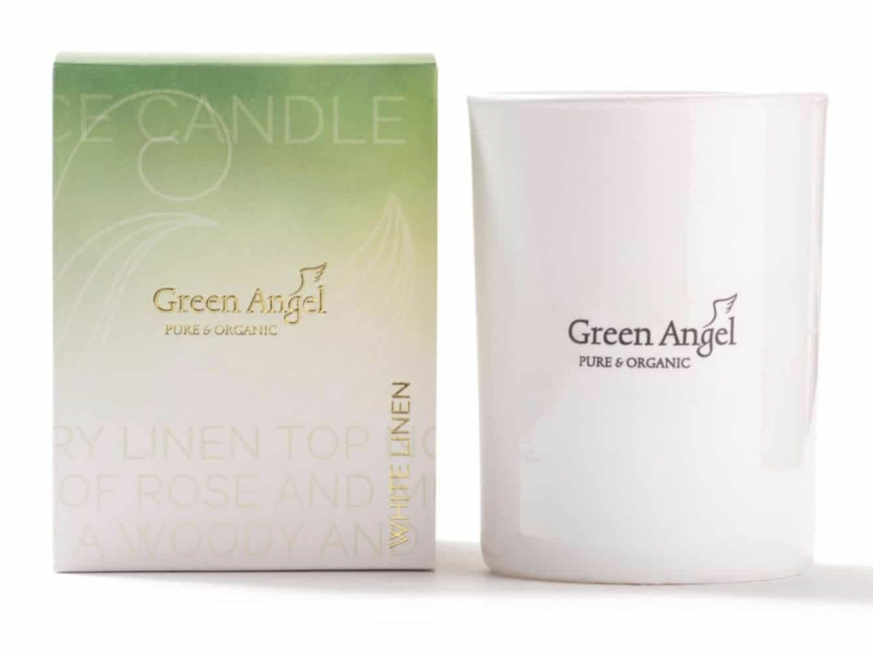 Valentine's Day Gift for Her: Green Angel White Linen Candle