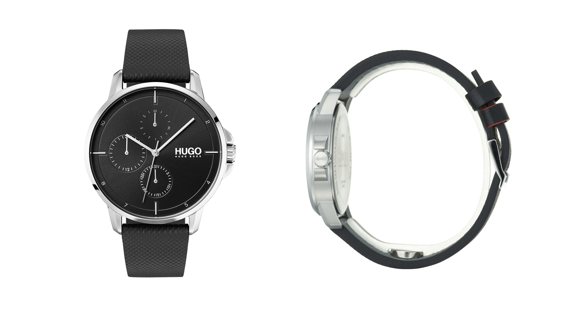 The Classic Valentine's Day Gift: HUGO Focus Black Multi-Dial Watch