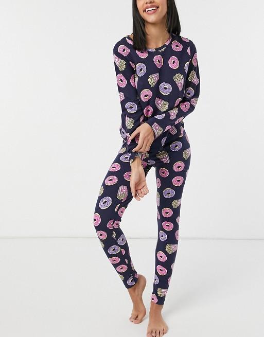 Galentine's Day Gift - ASOS DESIGN Doughnut Pyjama Set in navy